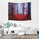 LB Nature Tapestry Wall Hanging Enchanted Autumn Forest in Foggy with Maple Leaf Misty Fall Scenery, 3D Tapestry for Bedroom Living Room Dorm Home Decor, 60 x 40 Inches