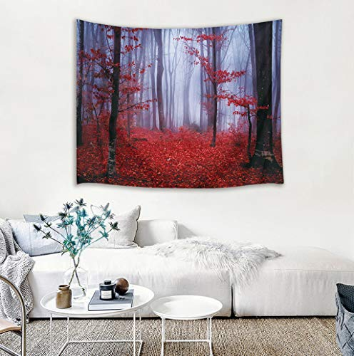 LB Nature Tapestry Wall Hanging Enchanted Autumn Forest in Foggy with Maple Leaf Misty Fall Scenery, 3D Tapestry for Bedroom Living Room Dorm Home Decor, 60 x 40 Inches by LB (Image #7)