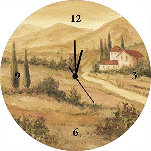 Artland Qualitätsuhren I Funk Wanduhr Designer Uhr Glas Funkuhr Größe: 35 Ø Europa Italien Braun A0WX