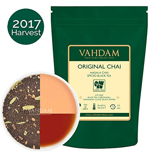 India's Original Masala Chai Tea (200+ Cups), 100% Natural Cardamom, Cinnamon, Cloves & Black Pepper blended with Black Tea, Ancient Indian House Recipe, 16-ounce Bag (Light Ancient Oak One)