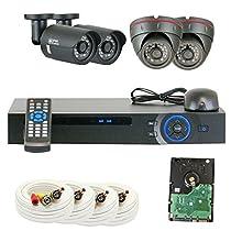 GW Security 5204CVI2400TVL2T 4-Channel 1080p DVR 2MP 2400TVL HD Surveillance Security Camera System 2015 Newest (Grey)