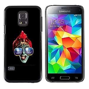 EJOY---Cubierta de la caja de protección la piel dura para el ** Samsung Galaxy S5 Mini, SM-G800 ** --Azul Gafas Hindú