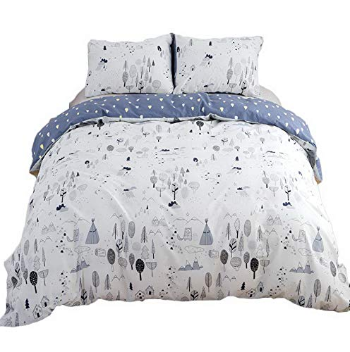 Girls Bike Maya - Hemau Forest Sets Twin for Boys Girls Kids Woods Tree Bedding Sets 100 Cotton Pack of 3 Floral Pattern - 1 with Zipper Closure 2 Pillow Sham Soft Healthy NO Comforter | Style 503196138