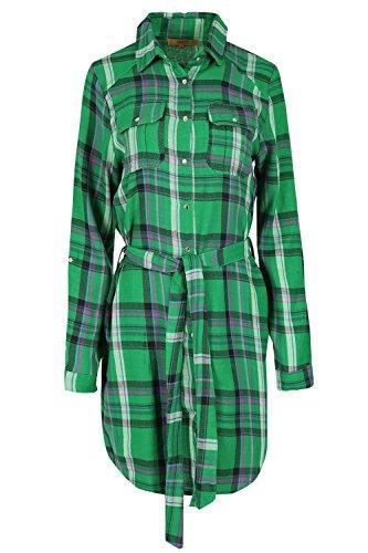 Womens Ladies Tartan Check Longline Collar Button Tie Belted Top Shirt Dress