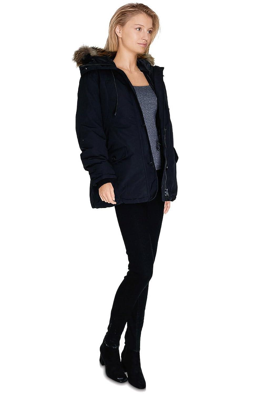 Cherry Paris–Promo Damen Daunenjacke/Parka Tina Handtasche taillierter mit Kapuze Reißverschluss und Knöpfe vorne. Erhältlich in Rot und Marineblau