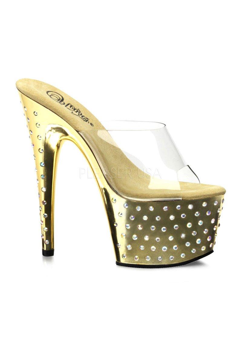 Pleaser Women's Stardust-701 Sandal B005GJF6MW 10 B(M) US|Clear/Gold/Chrome