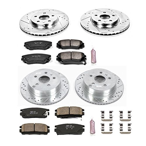 Power Stop K5516 Front and Rear Z23 Evolution Brake Kit with Drilled/Slotted Rotors and Ceramic Brake Pads