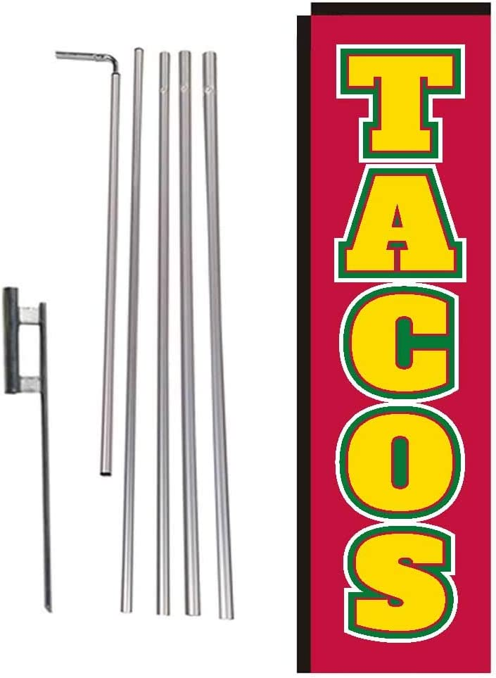 Tacos Mexican Food Rectangle Feather Banner Flag With Pole Kit And Ground Spike For Restaurants Markets Business Owners Garden Outdoor Amazon Com