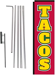 Tacos Mexican Food Rectangle Feather Banner Flag with Pole Kit and Ground Spike for Restaurants, Markets, Business Owners