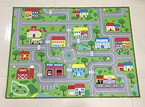 Mapa Ciudad Para Niños.Grenss Gran Tamano 51 X 75 Los Ninos Alfombra Mapa