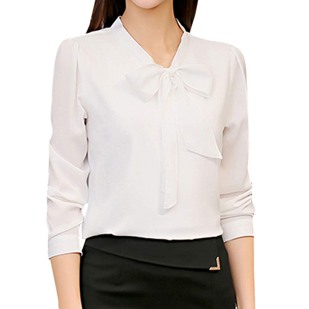 Women Work Tops Chiffon Long Sleeve Bow Tie Neck Shirts Solid Color Button Down Casual Office Blouse (XXL, White)
