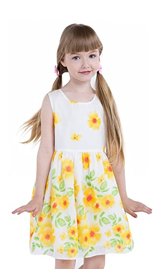 a812460bb987 JI Little Girls Floral Dress Yellow Sunflower Dress Summer Casual Dress for  Girls and Kids Size