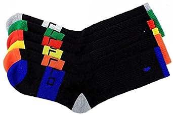 Polo Ralph Lauren Men's 6-Pack Black Assorted Sport Crew Socks Sz. 10-13; Fits 6-12.5