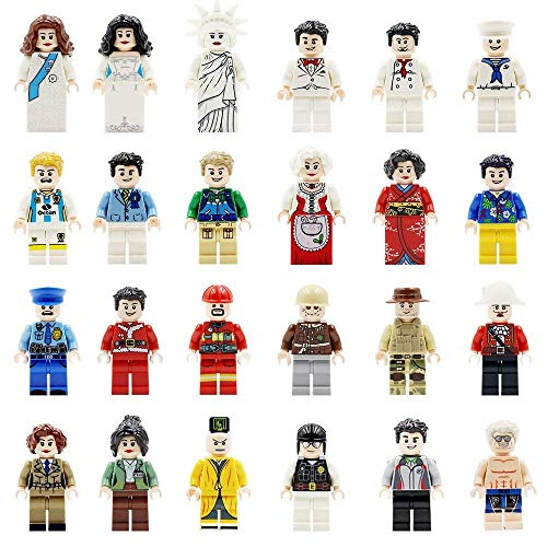 X Homes 24 Pcs Minifigures Set of Professions, Building Bricks of Community People from Different Industries Complete, Building Blocks Kids Educational Toy Gift