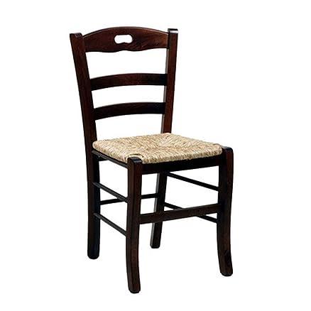 Sedia legno massello 34x27xH94 seduta paglia cucina salotto ...