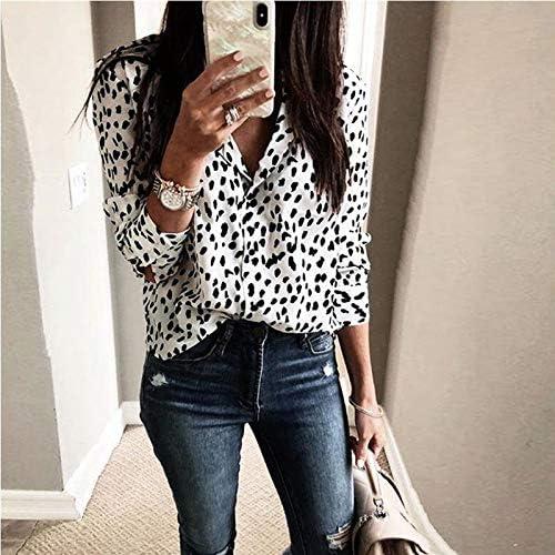 CHZDNSCS Hemd Frauen V-Ausschnitt Leopardenmuster Langarm Lose Bluse Shirt Tops Plus Size S-3Xl White