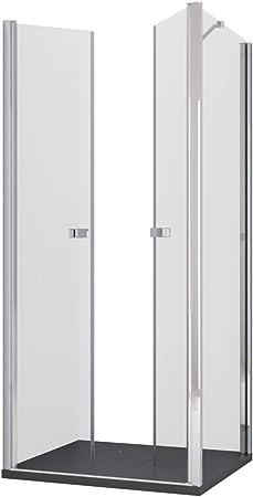 Olimpo - Mampara de Ducha Angular de 195 cm de Altura, una Puerta Saloon de Cristal de 6 mm, Transparente: Amazon.es: Hogar