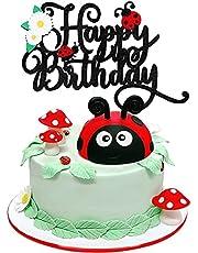 Miraculous Ladybug Happy Birthday Cake Topper - Spring Little Ladybug Party Glitter Ladybug Daisy Cake Supplies - Baby Shower Girl's Birthday Party Decoration