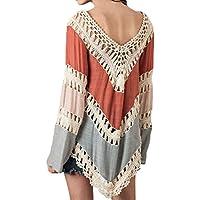 inewbetter Womens V-neck Knit Splice Irregular Hem Camisa Blusa Tops