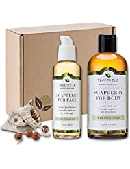 SPRING ONLY - Real, Organic Face And Body Bath Set. The Only pH 5.5 Balanced Shower Set For Sensitive Skin. Natural Bath Gift Sets For Women. Comes With Real Wild Soapberries - Unscented