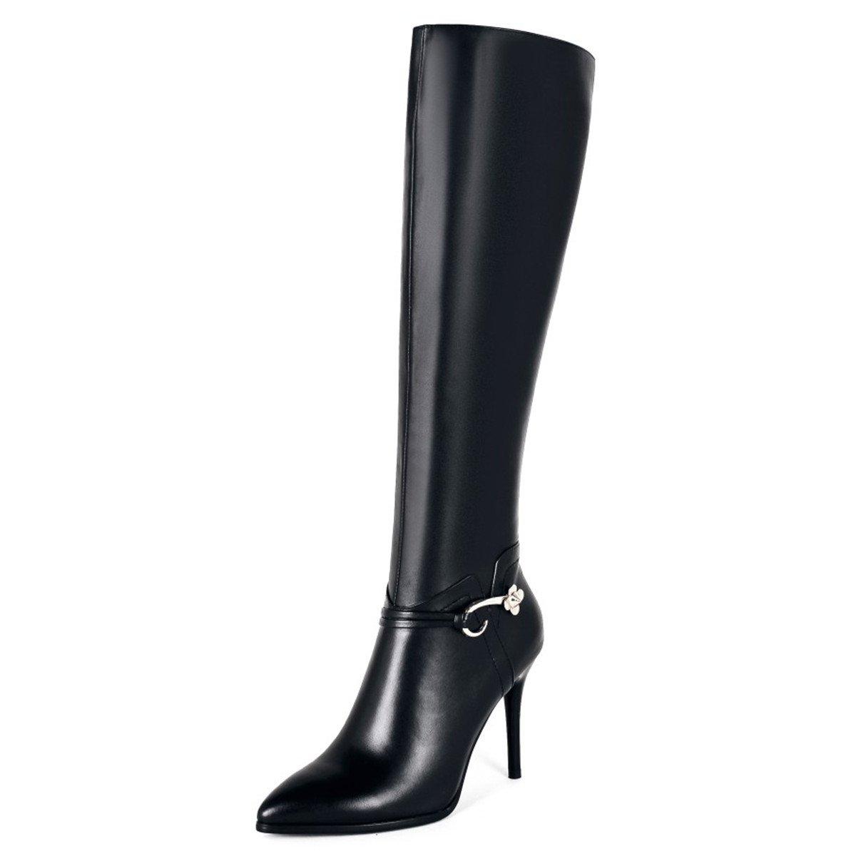 Jiame Women's Zipper Pointed Toe High Heel Stiletto Black Knee High Tall Dress Boots (7.5B(M) US(Asia 39), Black-1)