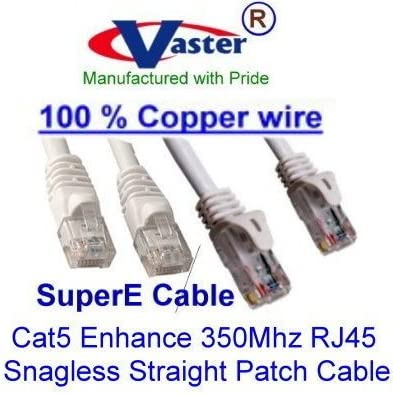 Beige//Grey Color Ethernet Network Patch Cable 3 Ft Cat5e Vaser SKU-20672 UL 24Awg 100/% Copper