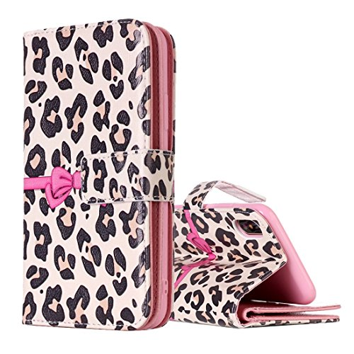 Mxnet IPhone X Case, Leopard und Bowknot Pattern Horizontal Flip Ledertasche mit Halter & Kartensteckplätze & Wallet & Photo Frame ( Size : Ip8g3633e )