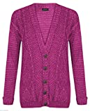 Purple Hanger New Womens Everyday Long Sleeve Button Top Ladies Chunky Aran Cable Knit Grandad Cardigan (12-14, Cerise)
