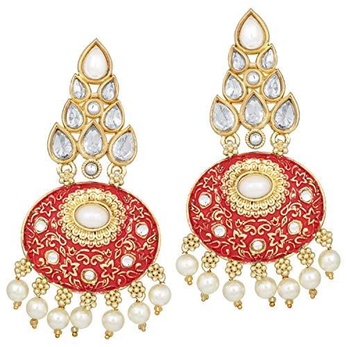 (Aheli Indian Enamel Kundan Dangle Drop Earrings Bollywood Ethnic Fashion Jewelry for Women)
