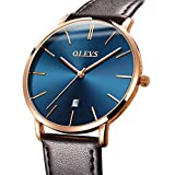 Mens Watch Brown Leather Band Blue Face,Ultra Thin Watches for Men Waterproof Fashion Minimalist Wrist Watch,Rose Gold Watch Men Simple Casual Watch Date,Japanese Quartz Watches for Men