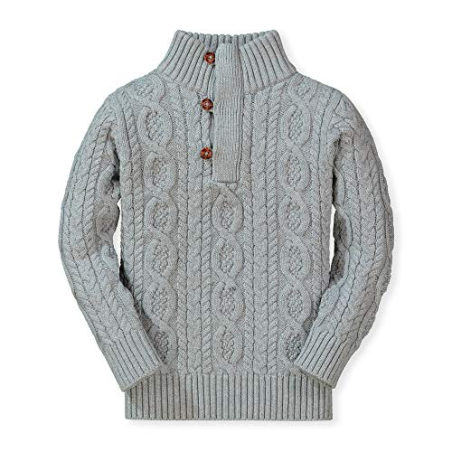 (Hope & Henry Boys' Mock Neck Cable Sweater with Button Placket Gray Heather)
