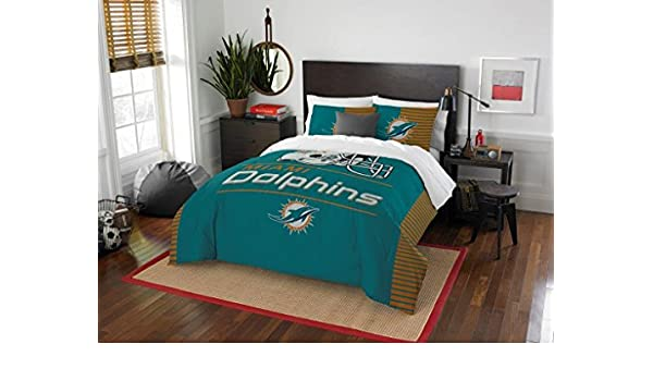 QUEEN SIZE Printed Comforter Miami Dolphins Sham Set 3 Pc FULL