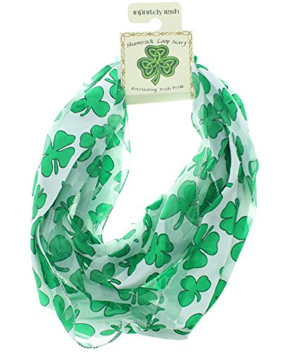 [Satin Irish St. Patrick's Day Shamrock Clover Infinity Circle Scarf, White/Green, One Size] (Cute St Patricks Day)