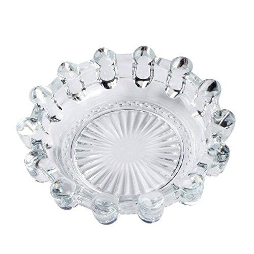 Saim Round Crystal Glass Smoking Ashtray Home Office Tabletop Decoration 5.4