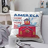 Fbdace Square Pillow Case Cover Americana Birdhouse with USA Flag Premium,Ultra Soft,Hypoallergenic,Breathable 16 X 16 Inch