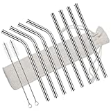 iVict Stainless Steel Straws, 8.5'' Reusable Metal Drinking Straws for Cold Beverage, Cocktail, Coffee, Ice Tea - Set of 8 (4 Straight,4 Bent,2 Cleaning Brushes)