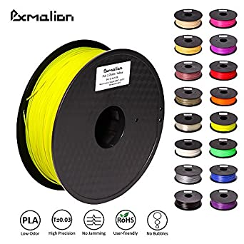 Pxmalion PLA 3D Filament, Yellow, 1.75mm, Accuracy +/- 0.03mm, Net Weight 1KG(2.2LB), Compatible with most 3D Printer & 3D Printing Pen
