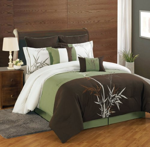 KingLinen 8 Piece Queen Bamboo Embroidered Comforter Set (Asian Theme Comforter)