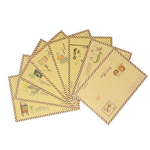 Honbay 40PCS 8 Different Styles Open Side Envelopes Vintage Kraft Paper Envelopes Love Letter Envelopes Invitation Envelopes Gift Card Greeting Card Postcard Envelopes ()