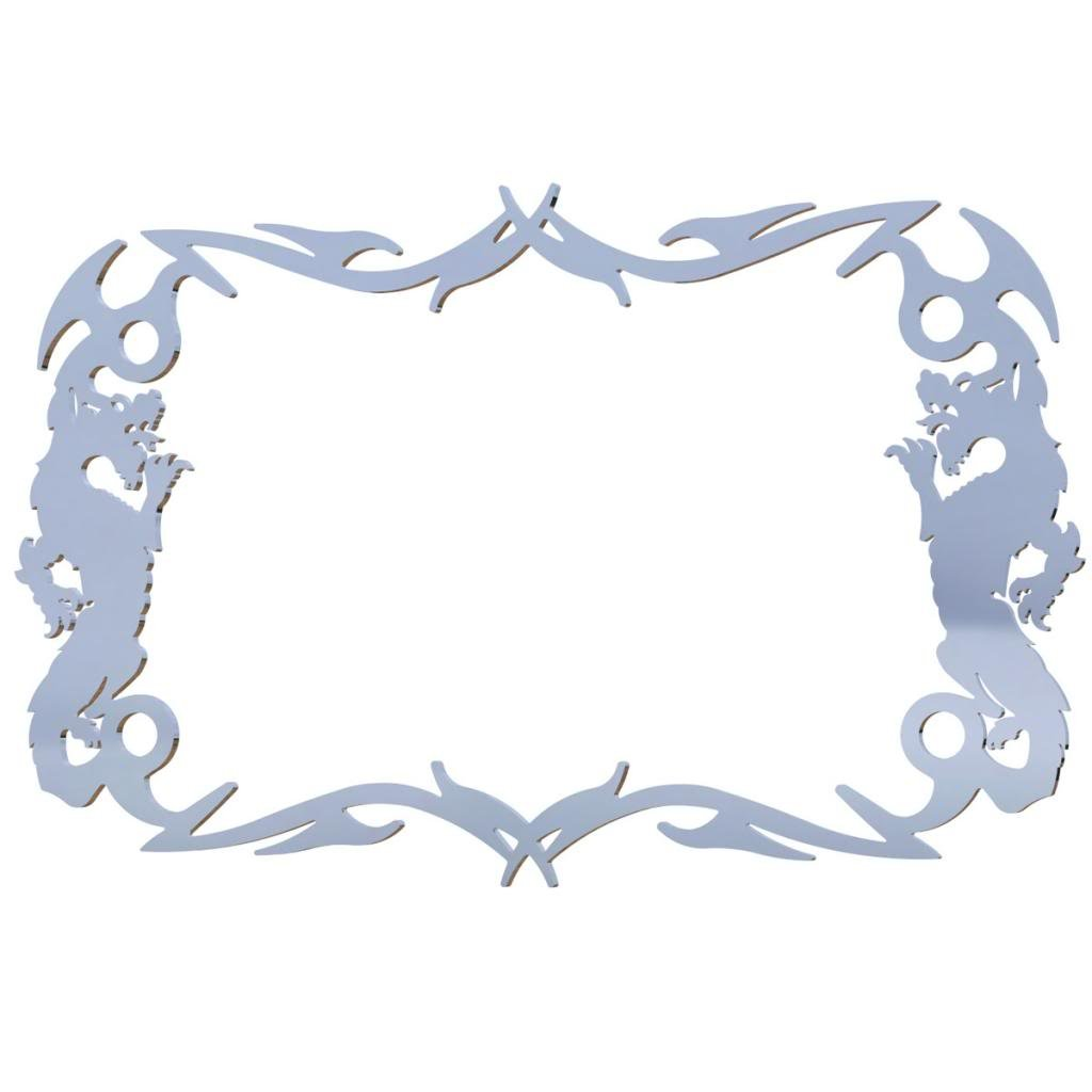 Polished Stainless Chrome Motorcycle License Plate Frame Chinese Dragon Dragon - 1 Piece - Ferreus Industries - LIC-100