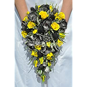 Unique Fresh Touch Grey and Yellow Rose and Anemone Cascade Bridal Bouquet with Heather 39