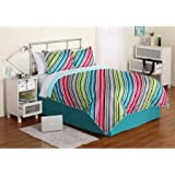 Keeco Summer Sky Electra Stripe Reversible Bedding Set Bed In Bag Twin, 6 Piece
