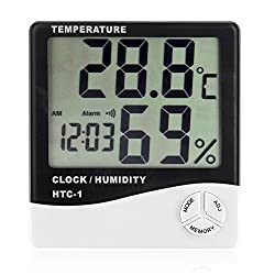 Hydro Crunch Digital Thermo-Hygrometer with Alarm Clock LCD Display