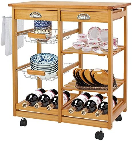 HomGarden Wood Rolling Kitchen Storage Cart Dining Island Trolley w/Drawer Shelves Basket Stand Counter Top Table Microwave Cart