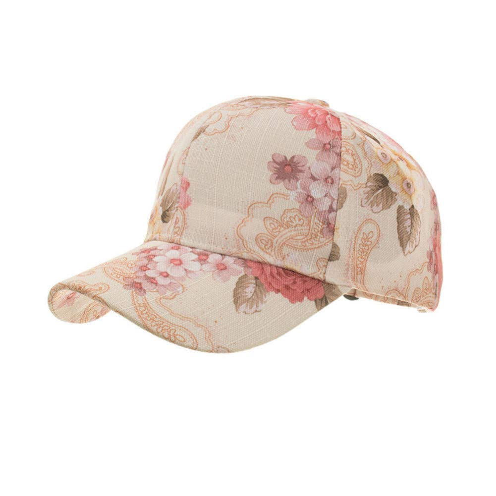 Beige JINRMP Fashion Summer Caps Women Flora Print Classic Hat Ladies Baseball Cap Adjustable