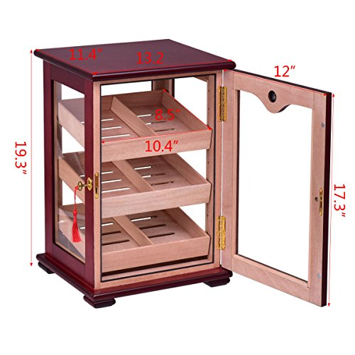 Giantex Countertop Cigar Humidor Cabinet Tempered Glass Lockable w/Humidifiers Hygrometer 150 Cigars by Giantex (Image #2)