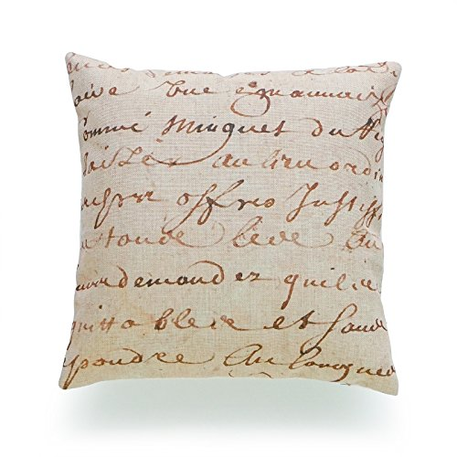 Hofdeco Decorative Throw Pillow Cover HEAVY WEIGHT Cotton Linen French Country Vintage 1700s Script Parchment Paper 18
