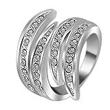 "RI06005 ""Waves Struck."" Austrian Crystal 18K Ring"