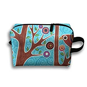 Funny Birds And Branches Receive Bag Toiletry Bag Canvas Wash Bag Foldable Multi-function Makeup Pouch Portable Storage Bag Travel Bag