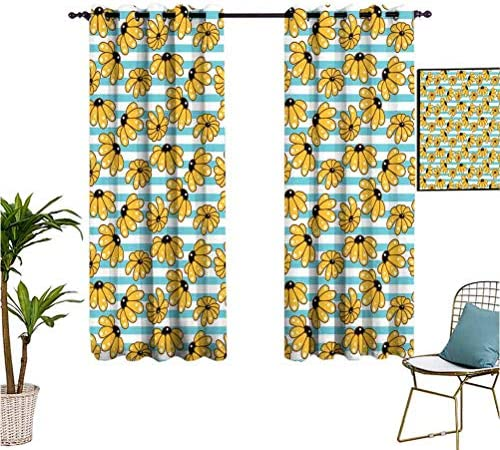 Mozenou Yellow and Blue Grommet Curtains Cartoon Style Chamomile Daisy Blooms on Striped Backdrop Isolate Sunlight Dark Curtains,63×63 Inch Sky Blue Earth Yellow Black
